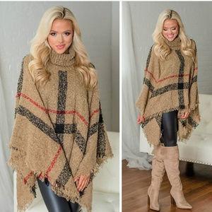 Sweaters - Softest Plaid Poncho - TAUPE